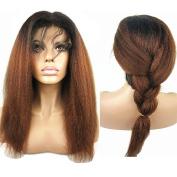 N.L.W. Brazilian human hair lace front wigs Kinky Italian yaki front lace wigs T1b/30 Ombre colour wigs for black women 50cm
