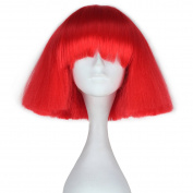 Miss U Hair Short Kinky Straight Wig Women Fashion Party Hair Wig Cosplay Wig (Red) C090-A03