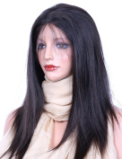 VVHair Lace Front Human Hair Wigs with Baby Hair Malaysian Remy Virgin Human Hair African American Wig Straight Natural Virgin Black Colour Length 46cm Meidum Cap Size