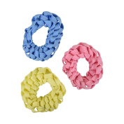 Set of 3 Braided Hair Scrunchies Pony Holders for Women and Girls - Light Pink Blue & Yellow