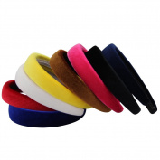 QtGirl Hot Pink Aliceband Alice Band Padded Velvet Headband Hair Hoop for Party