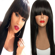 NiceToBuy Glueless Silky Straight Lace Front Wig with Bangs Brazilian Virgin Human Hair Wigs for Women 130% Density Medium Size Cap