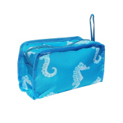 Top Lined Turquoise Seahorse Hanging Toiletry Travel Bag Case Dopp Shaving Kit Zipper Hanger TravelNut® Men Guy Him Unique Cool  .   Christmas Gift Idea