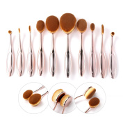 Rosabeauty 10 Pieces Soft Oval Toothbrush Makeup Brush Set - Rose Gold