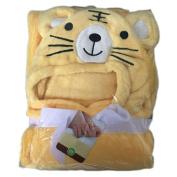 NaXY Coral Fleece Hooded Baby Blankets Unisex 3D Animal Head 80cm x 100cm Yellow