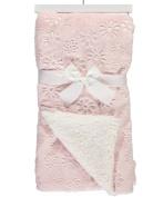 "Sam Salem & Sons Soft Plush Baby Blanket Embossed Flowers Fleece Reverse Warm Sherpa Throw Bed Pink 30"" x 40"""