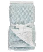 Sam Salem & Sons Soft Plush Baby Blanket Embossed Jacquard Fleece Reverse Warm Sherpa Throw Bed Blue 80cm x 100cm