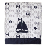 Nautica Kids Mix & Match Velboa Sailboat Blanket in Navy/Grey