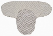 Little Beginnings Flannel Fleece Swaddle Sack, Grey Chevron Print