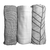 LIFESTYLE BAMBOO Baby Swaddle Blankets - Bamboo Muslin Rayon from Bamboo Fibre - 3 pack - White & Grey Unisex Neutral Colours - Babies & Newborn - Swaddling Wraps - Baby Boy - Baby Girl