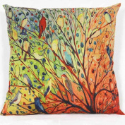 DATEWORK Tree Flower Floral Cotton Sofa Cushion Cover