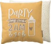 Primitives by Kathy Party My Crib Yellow Throw Pillow