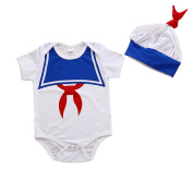 Baby Boys Bodyuit Sailor Suit Hat Outfit Set