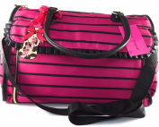 Betsey Johnson Pink Black Striped Roll out Changing Pad Baby Nappy Bag