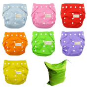 7pcs Reusable Baby Infant Nappy Cloth Nappies Cover Washable One Size Adjustable + Wet Bag