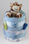 Sunshine Gift Baskets - Blue Nappy Cake Gift Set with a Giraffe