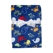Baby Gear Plush Velboa Ultra Soft Baby Boys Blanket 30 x 40, Sea Creatures