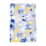 Baby Gear Plush Velboa Ultra Soft Baby Boys Blanket 30 x 40, Blue Safari