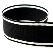 USA Made 2.5cm - 1.3cm Italian Side Street Striped Grosgrain Ribbon (Black and White Stripe Ribbon) - 50 Yards