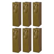 Kraft Wine Bottle Gift Bags with Metallic Gold Embossed Polka Dots