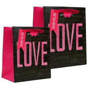 Romantic Valentines Day Matte & Glitter Gift Bags, Black & Hot Pink, Medium & Large, 2 Pack, 25cm - 30cm