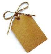 50 Small Gift Tags / Wedding Tags / Favour Tags (with 12 Metres of Uncut Natural Jute Twine) - 42mm x 28mm (100% Recycled Card)