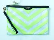 Victoria Secret Makeup Bag Skin Care Travel Tote or Bikini Bag Neon Green Stripe 28cm X 19cm …