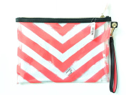 Victoria Secret Makeup Bag Skin Care Travel Tote Coral Stripe 28cm X 19cm