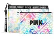 Victoria Secret Pink Bikini Bag Travel Tote Watercolour Rainbow Pattern or Makeup Cosmetic Carrier Duo