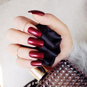 24pcs Square Long Solid Nail Tips with Glue Sticker valse Vampire Wine Red False Nails