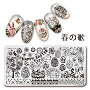 NICOLE DIARY 1Pc Rectangle Stamping Plate Happy Easter Pattern Manicure Nail Art Plate