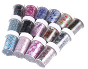 Beauty Leader 10Pcs Different Design Random Mixed Good Quality Starry Sky Stars Nail Art Stickers Tips Foil Wraps Nail Foil Transfer Nail Foil Wraps Roll DIY Decoration Without Adhesive
