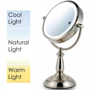 Ovente 22cm SmartTouch Three Tone LED Lighted Makeup Mirror, Tabletop Vanity Mirror, 1x/10x Magnification, Nickel Brushed