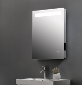 ShellKingdom Vertical LED Bathroom Silvered Mirror with Touch Button, Infrared sensor with a Bluetooth Speaker