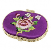 FOREVER YUNG Purple Embroidered Flower Accent Oval Shaped Padded Cosmetic Mirror by FOREVER YUNG