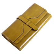 Obosoyo Women's Large Capacity Luxury Wax Genuine Leather Wallet With Zipper Pocket Card Case Purse