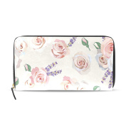 BYouLockX Women's Rose And Lavender Long Leather Card Zipper Wallet Purse Clutch