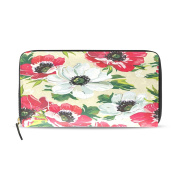 BYouLockX Women's Peony Floral Long Leather Card Zipper Wallet Purse Clutch