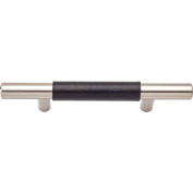 Lola & Company 7.6cm Centre-to-Centre Brushed Nickel/Black Leather Zanzibar Bar Cabinet Pull