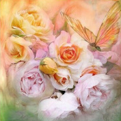 Whitelotous 5D Diamond Painting DIY Paint-By-Number Kit Craft Home Wall Decor - Flowers and Butterfly 30 x 30 cm