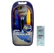 Gillette Fusion ProGlide Razor + 2 Refill Blade Cartridges w/ Free Loving Care Conditioner Packette