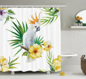 Parrots Decor Shower Curtain Set by Ambesonne, Hibiscus with Bird Intelligent Mimic Animals Creatures of Wild Regions Artwork, Bathroom Accessories, 210cm Extralong, White Yellow Green