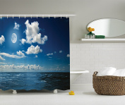 Ambesonne Ocean Decor Collection, Full Moon Brightens Wavy Ocean and Horizon in a Romantic Cloudy Night Picture Print, Polyester Fabric Bathroom Shower Curtain, 190cm Long, Navy Blue White