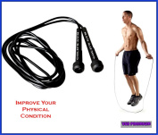 Gym Jump Rope 9' For Crossfit Kick Boxing Exercise Workout Training Cardio.Improve Health Stamina & Blood Circulation.Help Lose Weight.Smooth Rope Rotation For Faster Spins & Ergonomic Slim Handles
