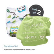 "Baby Tooshy Cloth Nappy Covers with DOUBLE Gussets. Waterproof, Adjustable & Reusable. One Size for Prefolds/ Flats/ Inserts. Set has 1 Embroidered ""Cloth on my bum..."" & 1 Patterned Cover. Cutiekins"