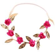 Alonea Baby Girls Rose Flower Golden Leaves Headband Elastics for Newborns Hair Head Band