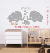 """Large Cute Elephant Family With Hearts Wall Decals Baby Nursery Decor Kids Room Wall Stickers, (Large)100cm W x 19""""H, Grey"""