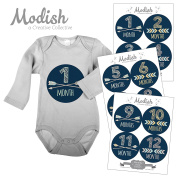 Modish - Creative Collective 12 Monthly Baby Stickers, Navy, Blue, Boy, Baby Belly Stickers, Monthly Onesie Stickers, First Year Stickers Months 1-12, Arrows, Chevron, Tribal, Baby Boy