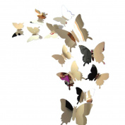 Wall Stickers,GOODCULLER Butterflies 3D Mirror Wall Art Non-toxic Background Decorated Decal Home Decor