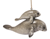 Manatee Mother and Baby Christmas Holiday Ornament 11cm Resin